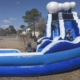 Blue Marble Wave Curved Inflatable Water Slide with Blower - Rental